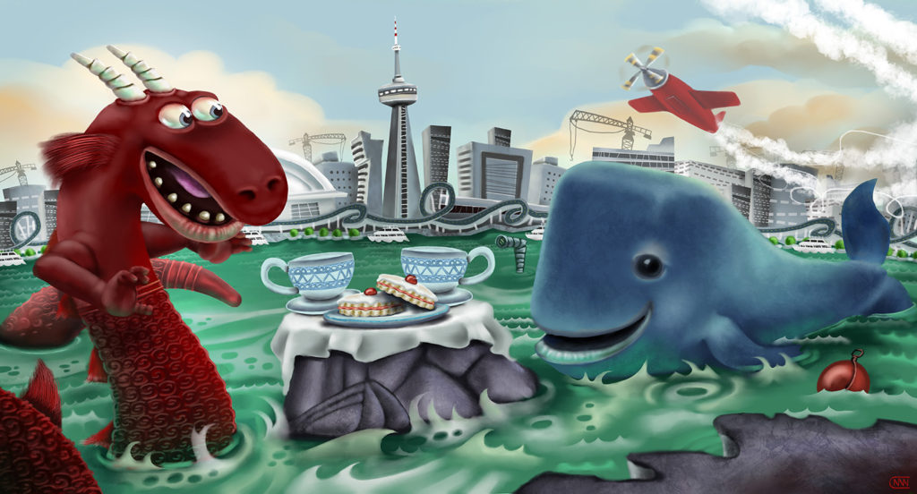 the whale and the Gaasyendietha have tea at toronto island - another Canadian myth; the Gaasyendietha is a seneca legend of a fire breathing meteor dragon that lives in the depths of lake ontario, which now also supports Canada's largest city, Toronto. I've been trying to narrow down the audience of children I would target with these picture book concepts (check out the others if you haven't seen them) and have kinda settled on ages 3-8, which seems to be an established category. So I've been trying to make my characters progressively friendlier and more approachable.